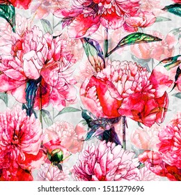 Watercolor drawing of peony flowers. Summer design. Design of textiles, covers, wallpaper, fabrics, packaging, wrapping paper, cards and invitations.