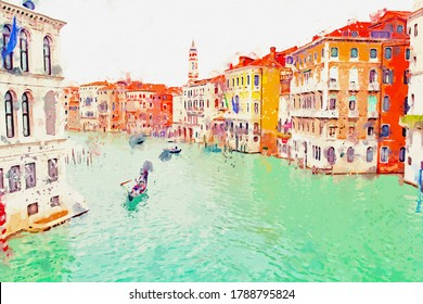 Watercolor drawing picture city scape of Venice famous landmark at Italy.