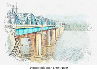 Watercolor drawing picture of Dongjak Bridge and Han river in Seoul, South Korea.
