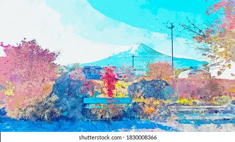 Watercolor drawing picture landscape view of Mt.Fuji famous landmark at Japan.