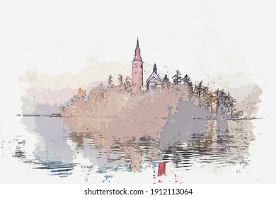 Watercolor drawing picture landscape view of Lake bled famous landmark at Slovenia