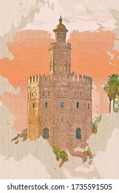 Watercolor drawing picture of Tower (Torre del Oro) of Seville, Andalusia Spain.