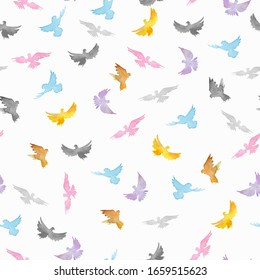 Watercolor drawing of pigeons. Seamless pattern on a white background.  Symbol of love, freedom, hope and peace. Decorative pigeons textile, wallpaper, wrapping paper design