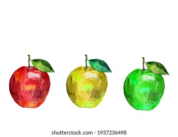Watercolor drawing red apple, yellow apple, green apple separately on a white background