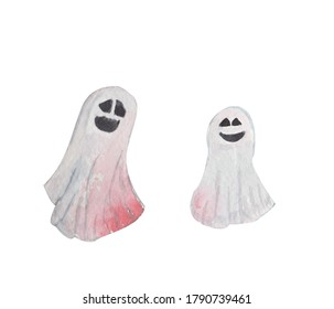 Watercolor drawing. Scary funny ghost. Halloween party illustration.