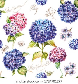Watercolor drawing, seamless pattern with flowers