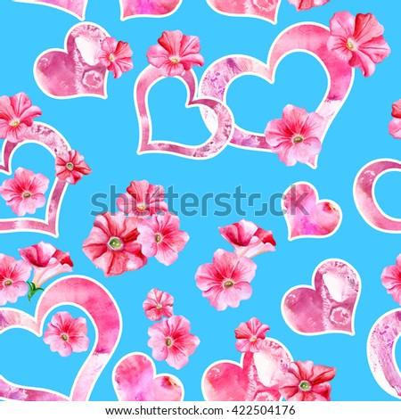 Watercolor drawing spring flowers petunias hand stock illustration watercolor drawing of spring flowers petunias hand drawn beautiful plant painting genus name petunia mightylinksfo