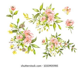Watercolor drawing of twig with leaves and flowers. Botanical illustration .An arrangement of pink flowers and colorful leaves. A set of floral elements.