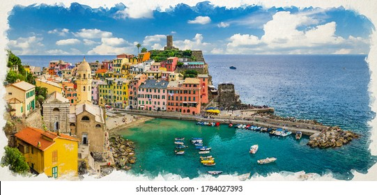 Watercolor drawing of Vernazza village with typical colorful multicolored buildings houses and marina harbor with boats, Ligurian Sea, National park Cinque Terre, La Spezia, Liguria, Italy