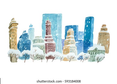 Watercolor drawing winter cityscape city in snow aquarelle painting.