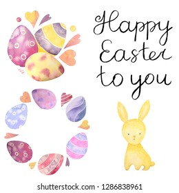 Watercolor drawn set with elements of happy easter. Hand drawn lettering, rabbit, eggs. Ideal for greeting card or logo