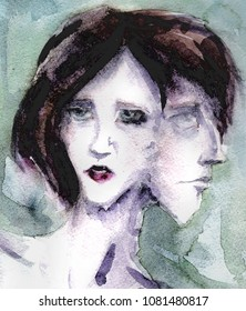 watercolor drawn Siamese twins drawing. allegory of hermaphrodite. beautiful girl with makeup next to a guy's face in profile. Pale color scheme of green and blue shades. dark brown hair square, bangs