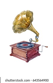 Watercolor drawn vintage gramophone on white background (isolated)