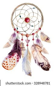 Watercolor dreamcatcher with beads and feathers. Illustration for your design.