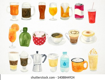 Watercolor Drinks Illustration, Drinks Clipart