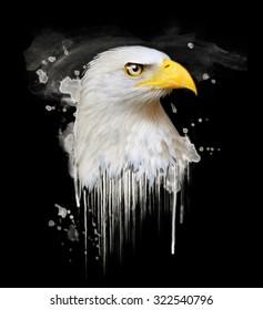 Watercolor Eagle illustration. Animal graphic print.