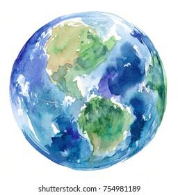 Watercolor Earth. Hand drawn illustration