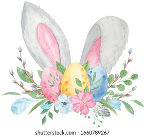 Watercolor Easter Bunny ears with colorful eggs. Spring flowers and pussy-willow. Rabbit ears. Hand painted watercolor cartoon illustration. Floral Easter wreath. Hand drawn holiday background.