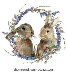 Watercolor Easter bunny with floral wreath. Hand painted rabbit with lavender, willow and tree branch isolated on white background. Holiday symbol illustration for design