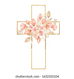 Watercolor Easter Cross Clipart, Spring Coral Floral Arrangements, Baptism Crosses DIY Invitation, Greenery Easter clipart, Holy Spirit. GOLDEN frame and pink peony. Modern set.Hand painted.