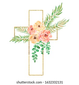 Watercolor Easter Cross Clipart, Spring Floral Arrangements, Baptism Crosses DIY Invitation, Greenery Easter clipart, Golden frame, peony flowers and foliage, Holy Spirit, Religious, hand drawn