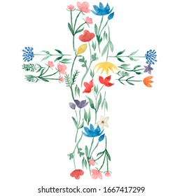 watercolor easter cross clipart. spring wildflower baptism cross illustration, festive composition. meadow flowers, summer field florals, religious card.