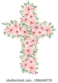 Watercolor Easter Pink flowers Cross Clipart, Golden frame, Delicate Peony Florals arrangement, Hand painted Pink Baptism Crosses, Wedding Invites, new baby girl, Holy Spirit illustration, greenery