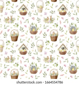 Watercolor Easter seamless pattern (texture, background) with birdhouse and baby chickens, basket with bunny and flowers. Cute cartoon illustrations. Perfect for invitations and gift wrapping.