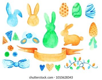 Watercolor Easter set. For design, card, print or background