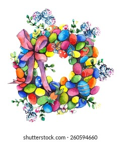 Watercolor Easter wreath painting on white background