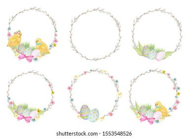 Watercolor Easter wreath Set, isolated on white background. Decorative elements for cards design, banners, invitations. Hand painted Round frame with pussy willow branch, spring flowers, colored eggs