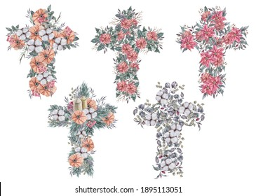 Watercolor Eater flower cross clipart on white background. Can be used for baptism invitation, Easter greeting card, first communion, holy spirit. Christian cross of green leaves and red poinsettia