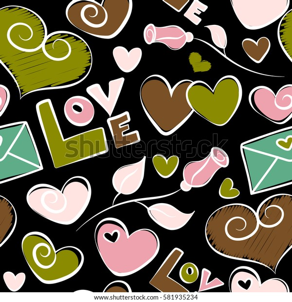 Watercolor effect illustration. Seamless pattern with decorative summer flower, hearts and love text in pink and green colors over black backdrop.