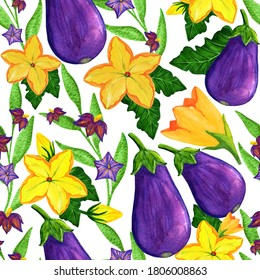 Watercolor eggplant seamless pattern. Aubergine vegetable with flowers and leaves illustration for wallpaper, wrapping, background, fabric and textile, covering, poster. Autumn harvesting painting