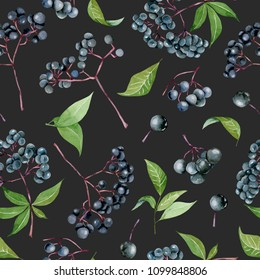 Watercolor elderberries seamless pattern, hand painted on a dark background