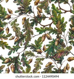 Watercolor elegant seamless pattern made of oak tree branches, twigs, leaves and acorns. Foliage boho background, botanical illustration, vintage style decoration, rustic natural wrapping paper.