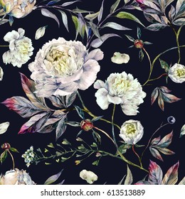 Watercolor Elegant Seamless Pattern made of White Peonies, Meadow Plants and Foliage. Botanical Illustration. Vintage Style Decoration Isolated on Black background.