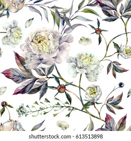 Watercolor Elegant Seamless Pattern made of White Peonies, Meadow Plants and Foliage. Botanical Illustration. Vintage Style Decoration Isolated on White background.