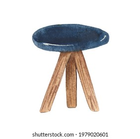 Watercolor element on a white background, hiking chair. For resting at a camp. For decoration of design compositions on the theme of tourism, hiking, outdoor vacations.