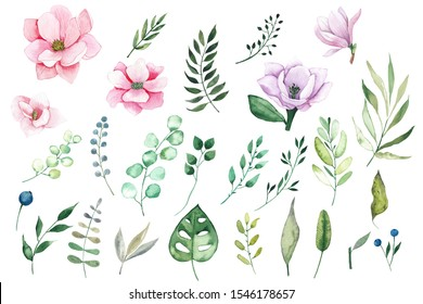 Watercolor elements clipart with pink and lilac tropical flowers magnolias and leaves