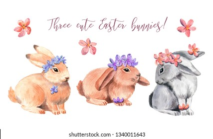 Watercolor elements with Easter bunnies. Happy Easter. On a white background.