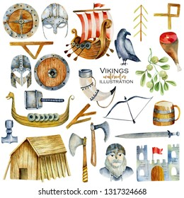 Watercolor elements of viking culture, hand drawn illustration isolated on a white background