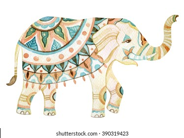 Watercolor elephant in bohemian style. Ornate elephant in pastel colors isolated on white background. Hand drawn illustration for design in tribal or boho styles