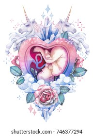 Watercolor embryo inside the heart shaped womb decorated with unicorns, roses, fantasy clouds, crystals and sparkles. The miracle of birth. Cute baby in pastel colors