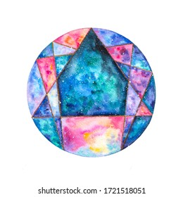 Watercolor enneagram icon colorful illustration. Enneagram of Personality. Sign, logo, pictogram, ring and typical structured figure. Rainbow gradient colored illustration on white background