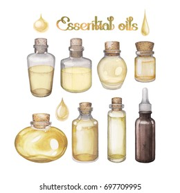 Watercolor essential oils isolated on white background. Hand painted collection of small bottles in yellow colors