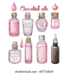 Watercolor essential oils isolated on white background. Hand painted collection of small bottles in pink colors