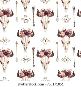 Watercolor ethnic boho seamless pattern of bull cow skull horn floral bouquet, ornament on white background, native american decor print element, tribal bohemian navajo, Indian, Peru, Aztec wrapping.