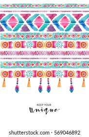 Watercolor ethnic card. Boho chic, ethnic, pattern, wallpaper.