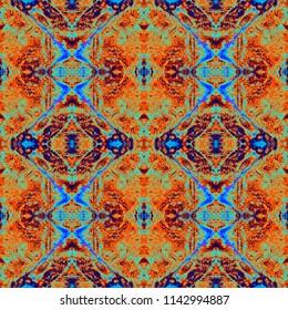 Watercolor Ethnic Seamless Pattern. Abstract Kaleidoscopic Geometric Pattern. Shibori Batik Tie-Dye Print. Abstract Arabic Repeat for Fashionable Fabric Textile, Cloth Print, Ceramics, Interior Design